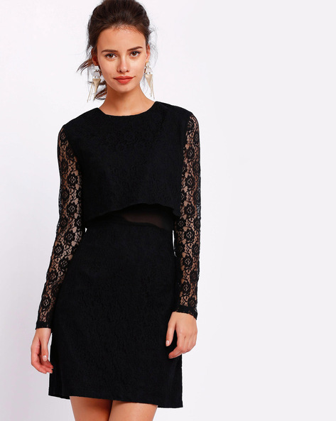 Pop-Over Lace Dress By RIDRESS ( Black )