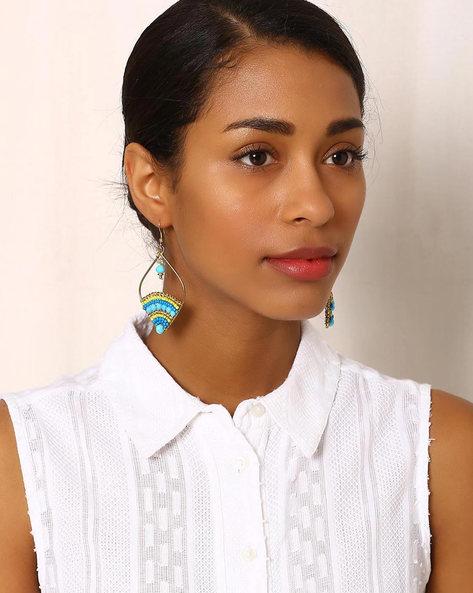 Beaded Brass Drop-Earrings By Indie Picks ( Multi ) - 460042590001
