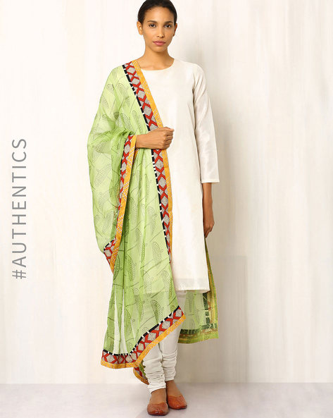 Hand Block Print Kota Dupatta With Patchwork By Indie Picks ( Lightgreen )