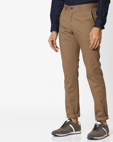 Tapered Fit Flat-Front Chinos By NETPLAY ( Khaki )