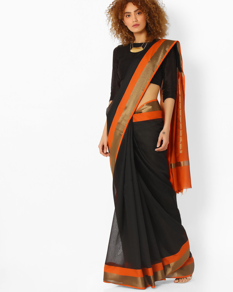 Handloom Woven Art Silk Saree By SHRIKALA ( Orange )