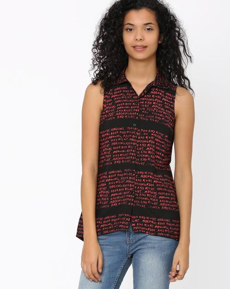 Printed Top With High-Low Hem By Candies By Pantaloons ( Black )