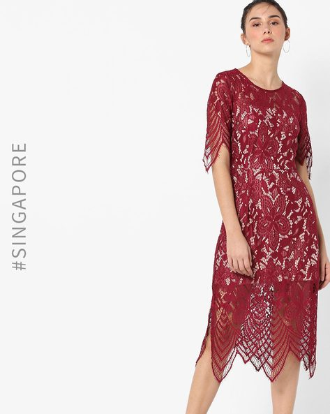 Lace Shift Dress With Back Cut-Out By MDS ( Red )