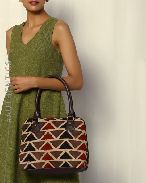 Handblock Print Ajrak Vegan Leather Shoulder Bag By A BIG INDIAN STORY ( Brown )