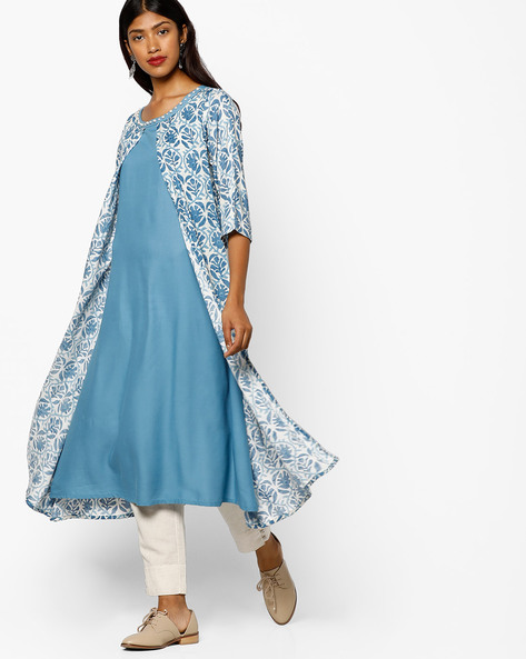 Floral Print Layered Kurta By Shree ( Blue )