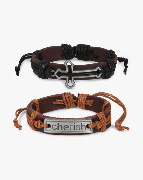 Set Of 2 Bracelets With Metal Accents By ALPHA MAN ( Black ) - 460134349001