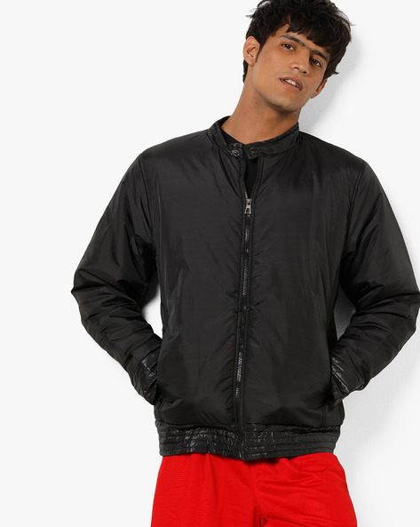 Zip-Front Jacket With Insert Pockets By Campus Sutra ( Black )