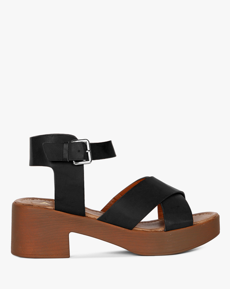 Strappy Chunky-Heeled Sandals With Ankle Strap By AJIO ( Black )