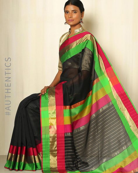 Handwoven Maheshwari Silk Cotton Saree By GoCoop ( Black )