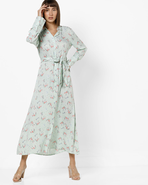 Floral Print Shirt Dress With Waist Tie-Up By AJIO ( Mint )