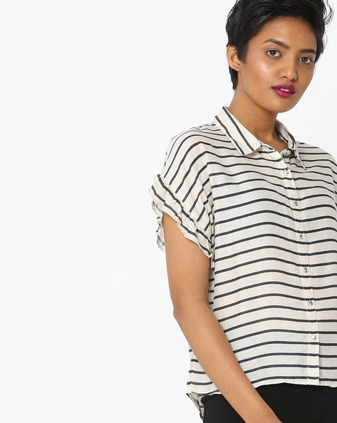 Striped High-Low Shirt With Extended Sleeves By Only ( Offwhite )