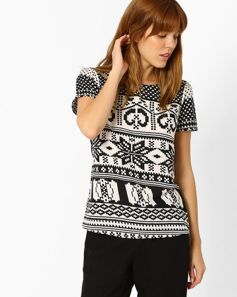 Aztec Print Top By Style Quotient By Noi ( Black )