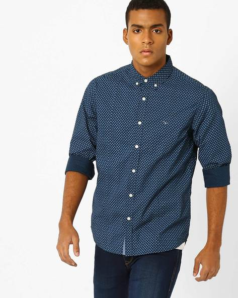 Paisley Print Button-Down Shirt By FLYING MACHINE ( Navy )