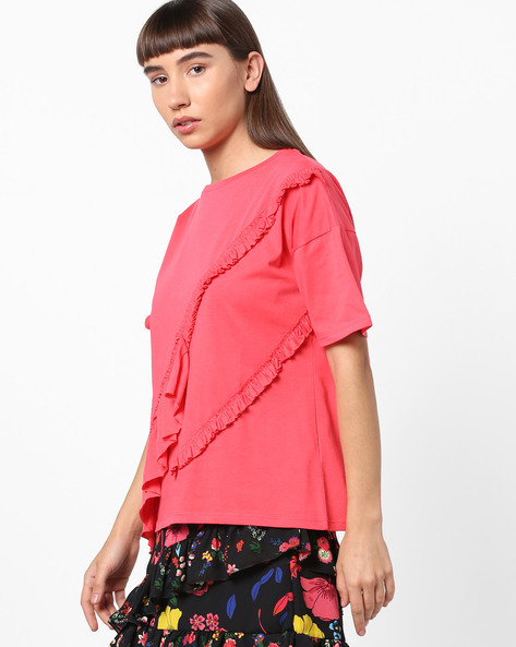 Drop-Shoulder T-shirt With Ruffle Trims By TRENDYOL ( Pink )