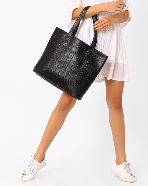 Textured Tote Bag By AJIO ( Black )