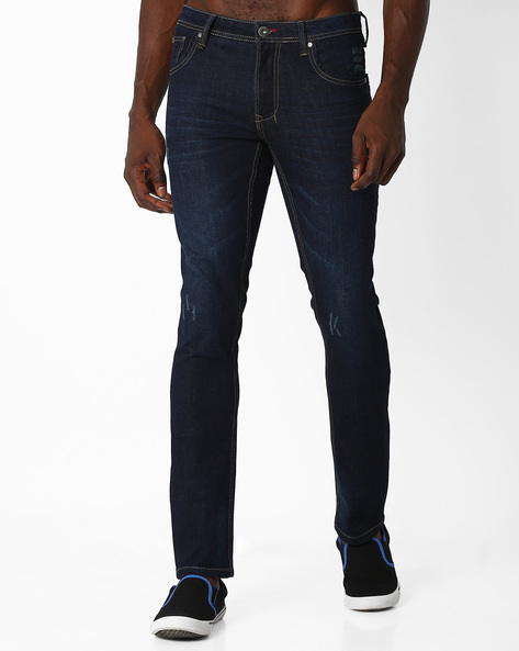 Skinny Fit Whiskered Jeans By DNM X ( Darkblue )