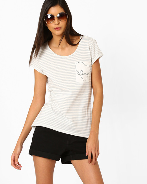 Striped High-Low T-shirt By Vero Moda ( White )