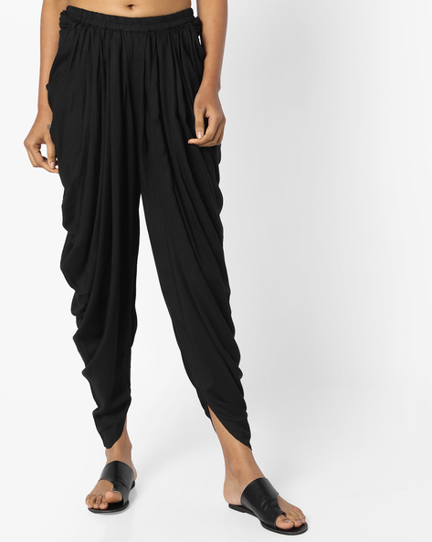 Dhoti Pants With Elasticated Waist By AJIO ( Black )