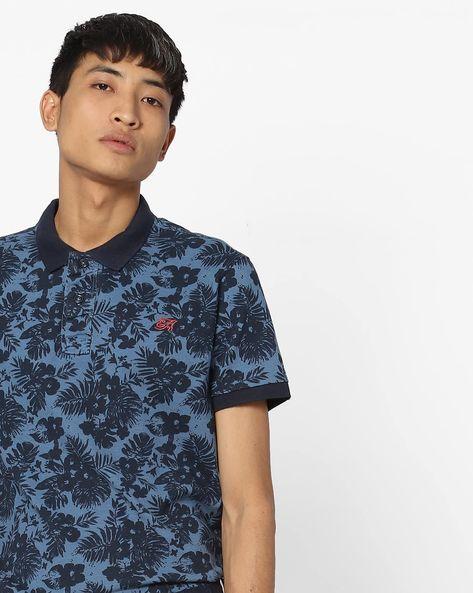 Tropical Print Polo T-shirt By ED HARDY ( Blue )