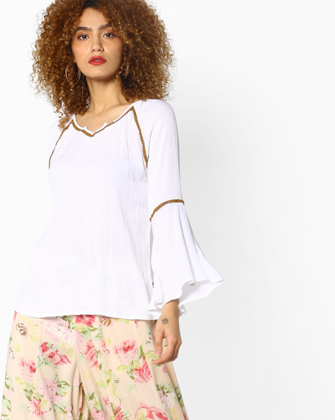 Tunic With Crotchet & Bell Sleeves By Juniper ( White )