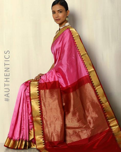 Pure Bangalore Silk Saree With Kadiyal Temple Border By Pretty Woman ( Pink )