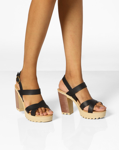 Criss-Cross Chunky Heeled Sandals By AJIO ( Black )
