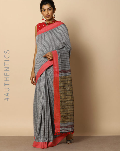 Handloom Bengal Cotton Geometric Print Saree With Tassels By Indie Picks ( Grey )