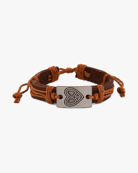 Faux-Leather Bracelet With Metallic Accent By ALPHA MAN ( Tan ) - 460068269001