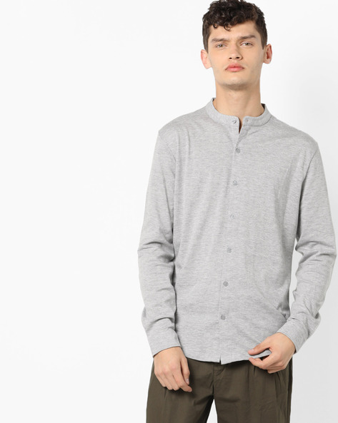 Slim Fit Knit Shirt With Band Collar By ADAMO LONDON ( Charcoal )