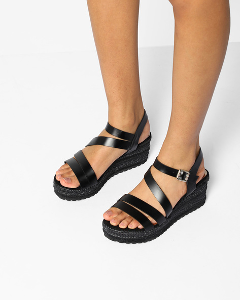 Espadrille Wedge Heel Sandals By AJIO ( Black )