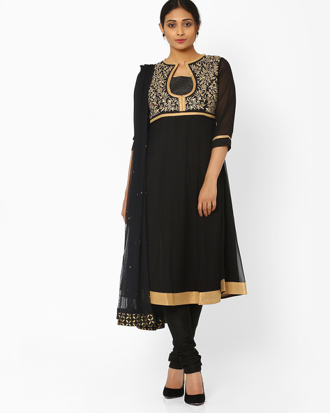 Kurta Suit Set With Dupatta By AJIO ( Black )