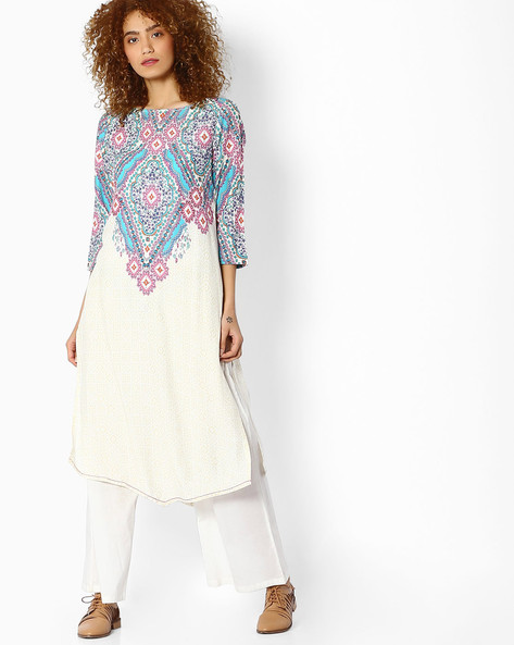 Printed Straight Kurta By Melange By Lifestyle ( Offwhite )