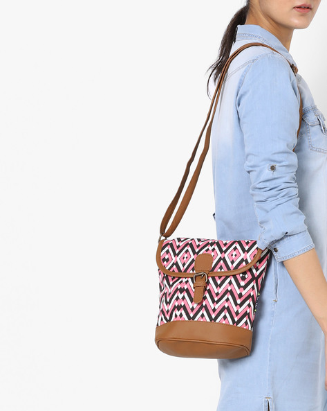 Printed Canvas Sling Bag By Kanvas Katha ( Multicolor ) - 460139220001