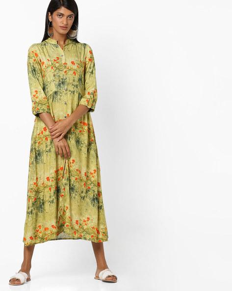 All-Over Print Shirt Dress By Aujjessa ( Lightgreen )