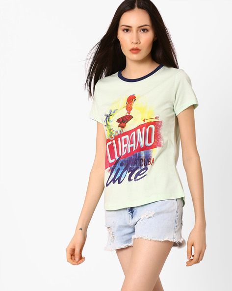 Printed T-shirt With Contrast Binding By AJIO ( Green )