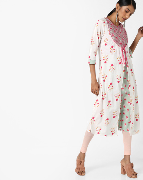 Floral Print Kurta With Contrast Innerlay By AJIO ( White )