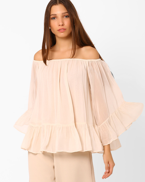 Off-shoulder Top With Bell Sleeves By Rena Love ( Offwhite )