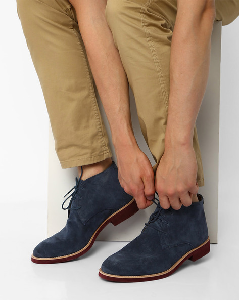 Suede Lightweight N9-Treated Boots By AJIO ( Navy )