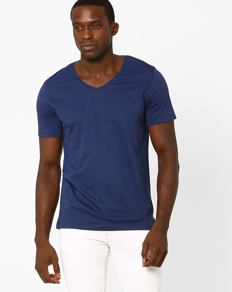 Cotton V-Neck Slim T-shirt By Blue Saint ( Navy )