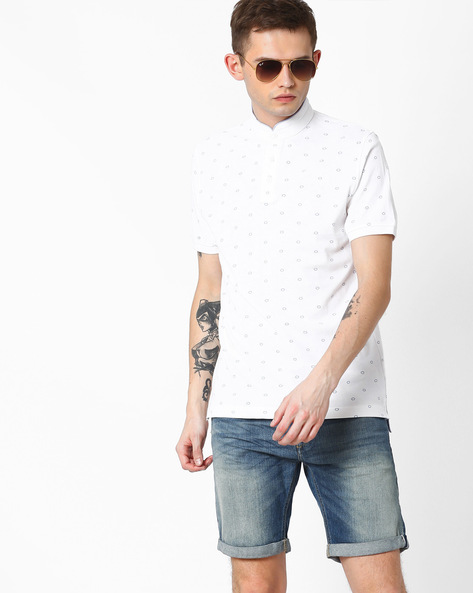 Printed Cotton T-shirt With Stand Collar By INDIAN TERRAIN ( White )