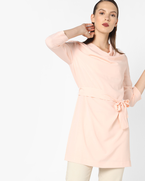 Tunic Top With Tie-Up By AJIO ( Pink )