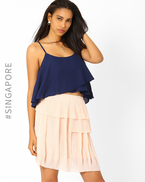 Layered Crop Top By MDS ( Navyblue )
