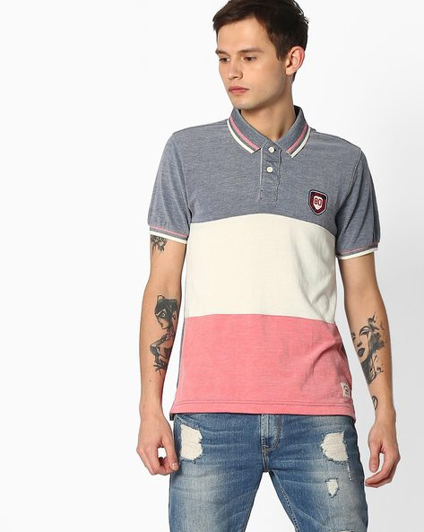 Striped Polo T-shirt With Contrast Tipping By FLYING MACHINE ( Blue )