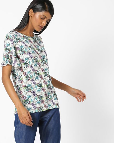 Printed T-shirt With Drop-Shoulders By FIG ( Green )