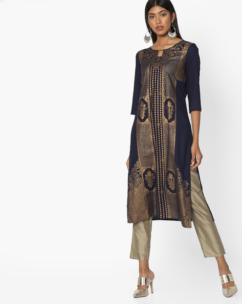 Foil Print Straight Kurta By AURELIA ( Blue )