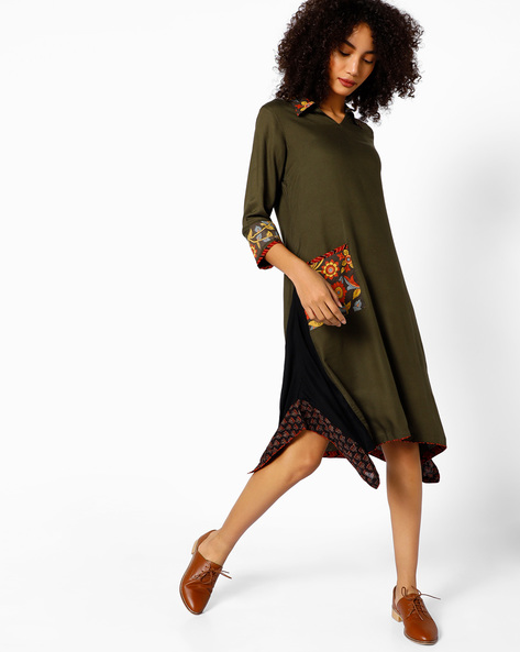 Collared Shift Dress With Printed Panels By COLOUR ME ( Green )