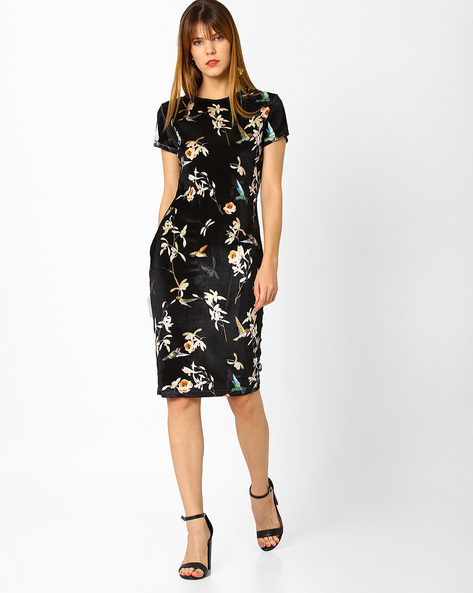 Floral Print Bodycon Dress By MDS ( Black )