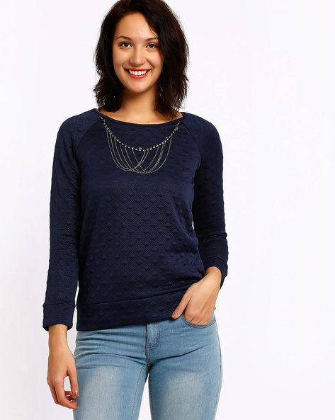 Sweatshirt With Embellished Neckpiece By SF Jeans By Pantaloons ( Blue )