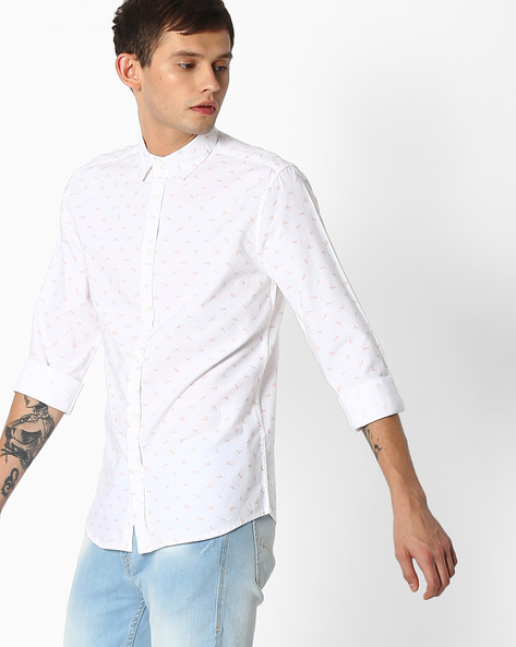 Printed Slim Fit Shirt By Jack & Jones ( Orange )