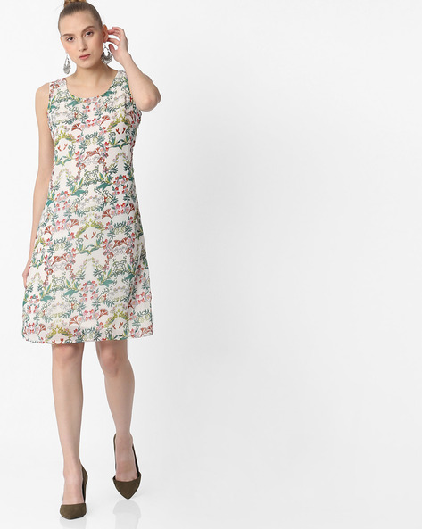 Tropical Print A-line Dress By FIG ( White )